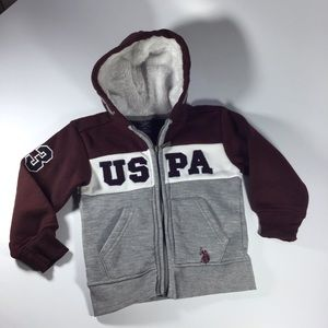 Red  gray toddlers 4T U.S. polo zip up hoodie